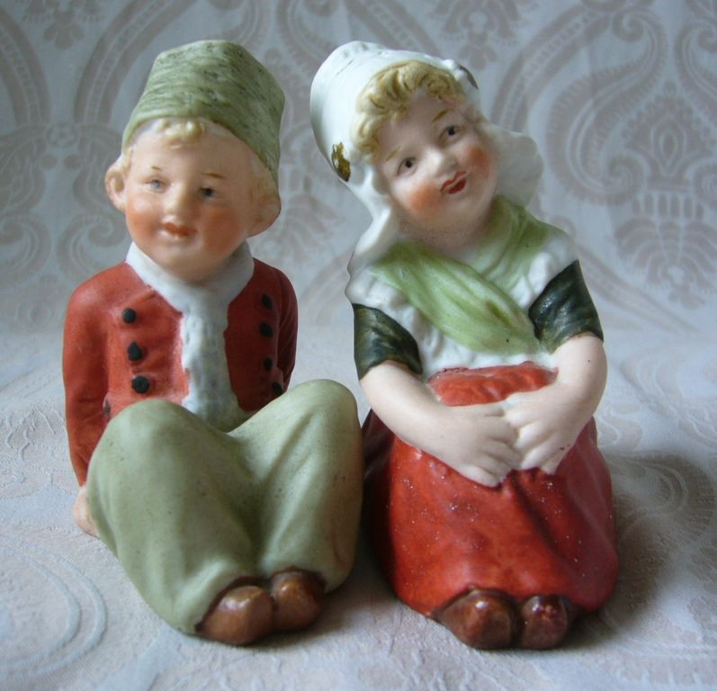 Cute Little German Bisque Gebruder Heubach Character Dutch Figurines