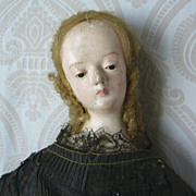 All Original Early Italian Papier Mache Lady in Original Costume