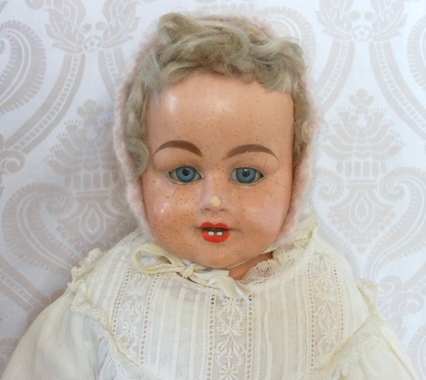 Antique German Papier Mache Doll by F. M. Schilling