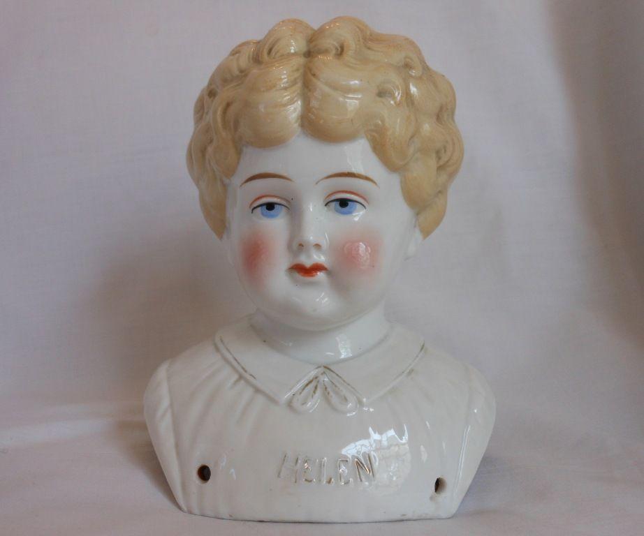"""""""Helen"""" Pet Name German Glazed Porcelain China Shoulder Head by Hertwig"""