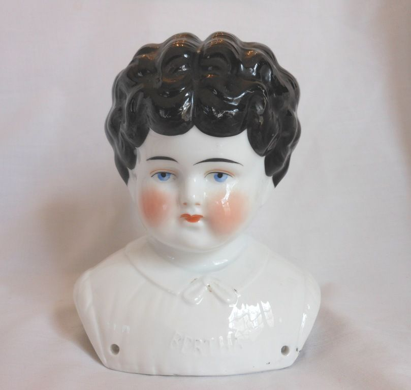"""Bertha"" Pet Name German Glazed Porcelain China Shoulder Head by Hertwig"