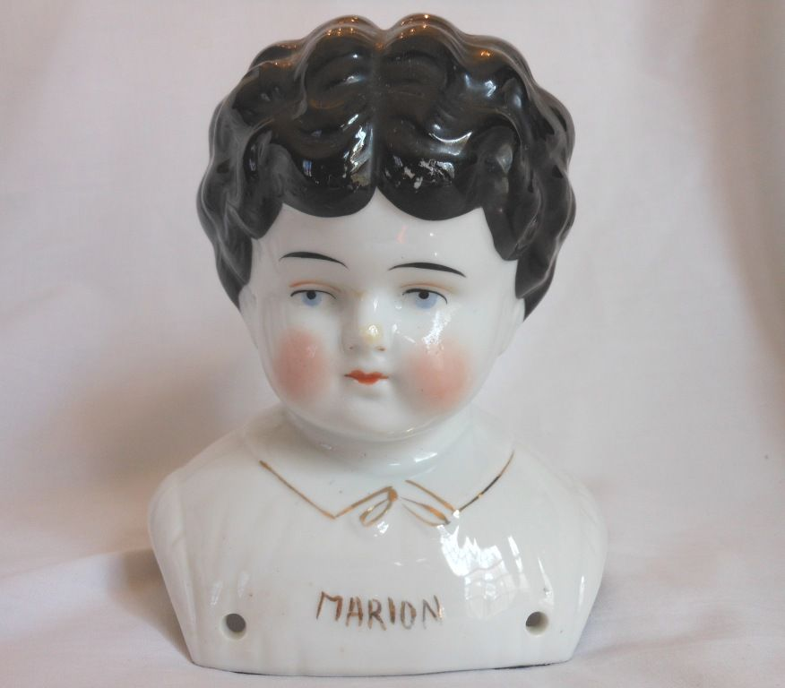 """Marion"" Pet Name German Glazed Porcelain China Shoulder Head by Hertwig"