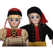 German All Bisque Doll Pair in Ethnic Crochet Costumes