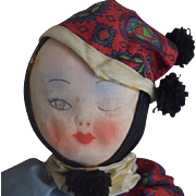 Vintage Cloth Clown with Winking Expression