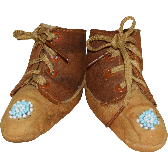 Vintage Leather and Suede Baby Doll Shoes with Beading