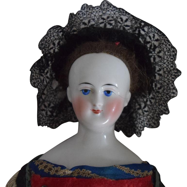 Bierdermeier Style German Wigged China Shoulder Head Doll in Ethnic Costume