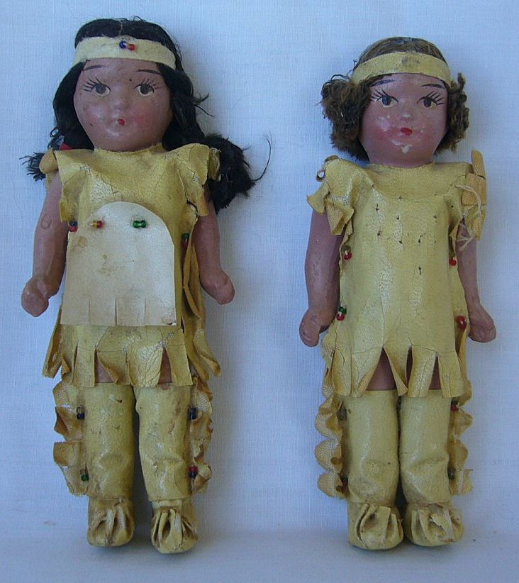 All Original Painted Bisque Native American Children