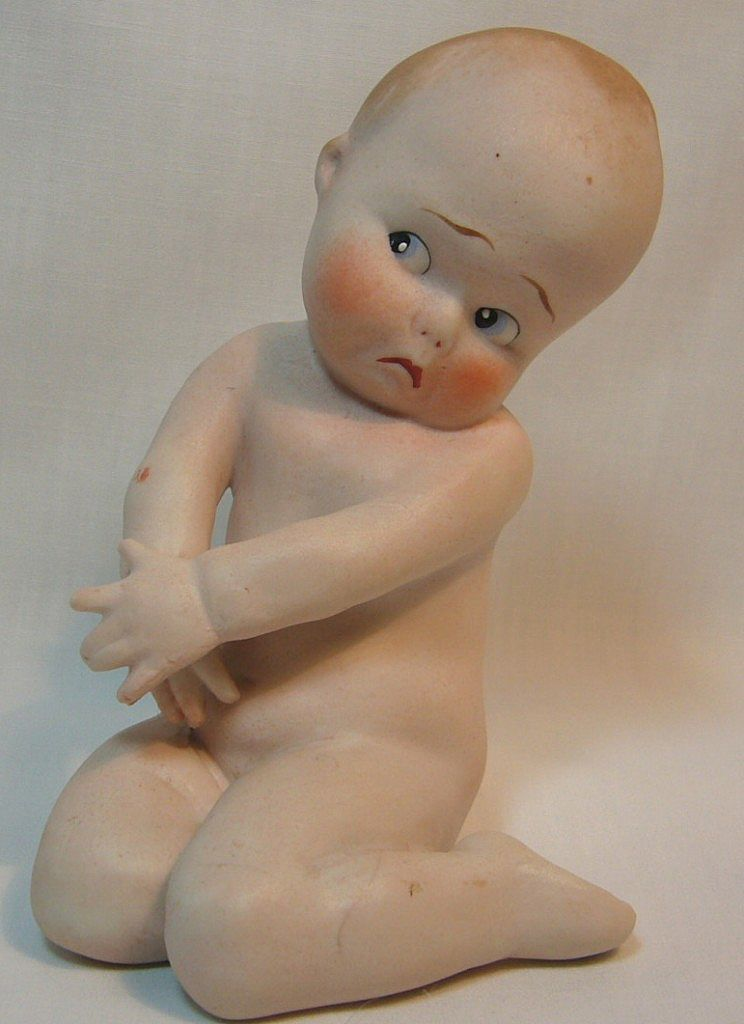 Sad Little German Gebruder Heubach All Bisque Position Baby