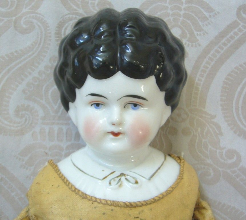 Hertwig German Glazed Porcelain China Head Doll with Blouse Detail
