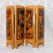 Vintage Wooden Doll House Japanese Folding Screen