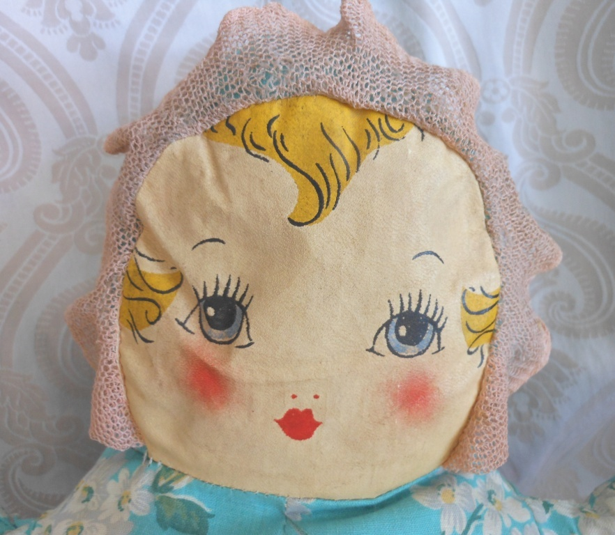 Vintage Cloth Baby Doll with Printed Face