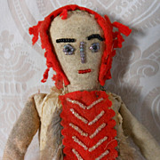 Cloth Native American Doll with Felt, Fur, and Beading