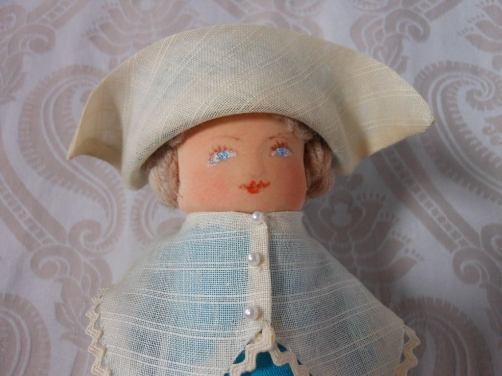 Pilgrim Lady Corncob Folk Art Doll