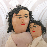 All Original Cloth Lady Doll with Baby in Her Arms