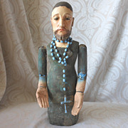 20th Century Wooden Creche Figure in Kneeling Position