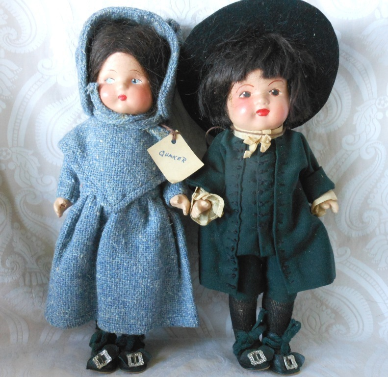 All Original Pennsylvania Dutch Composition Doll Pair by Marie Polack in Box