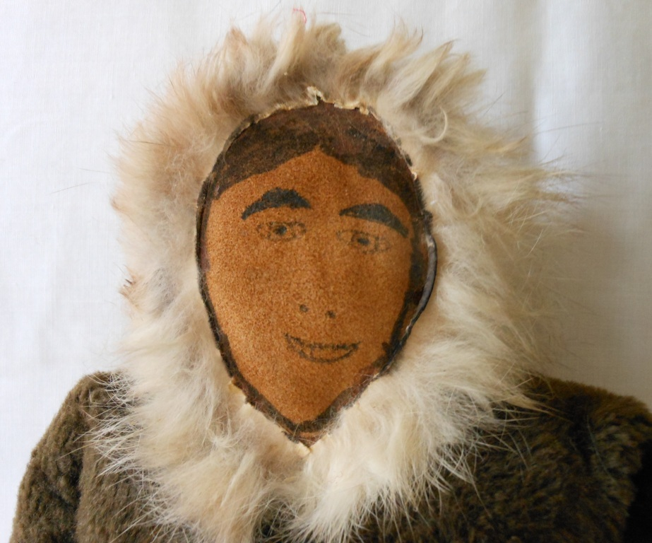Vintage Eskimo Doll Created from Suede, Cloth, and Fur