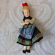 Tiny Stockinette Cloth Doll in Ethnic Costume