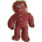 Hand Sewn Folk Art Wool Gingerbread Man