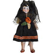 German All Bisque Doll in Original Spanish Costume