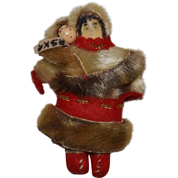 Small Alaskan Souvenir Doll with Baby