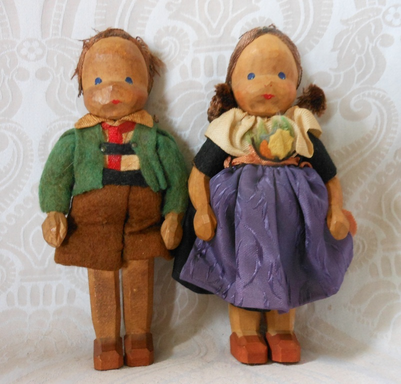 Vintage Carved Wooden Children