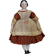 Petite German China Head Doll with Covered Wagon Hairstyle