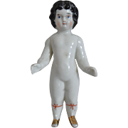 Antique German China Frozen Charlotte with Gold Luster Shoes