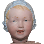 Antique German Bisque Bonnet Head Baby by Recknagel
