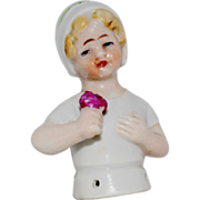 German China Child Half Doll Holding a Flower