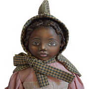 OOAK Cloth Artist Brown Doll, with Molded Hairstyle, by Rhonda King