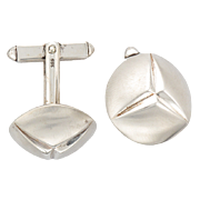 Vintage Mid-Century Sterling Silver Cufflinks in Box
