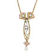 Art Nouveau 18K Gold Floral Necklace