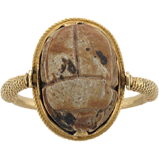1920's Carved Faience Scarab Ring