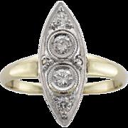Two-Tone Art Deco Diamond Ring
