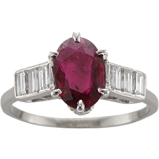 Vintage Platinum Ruby & Diamond Ring