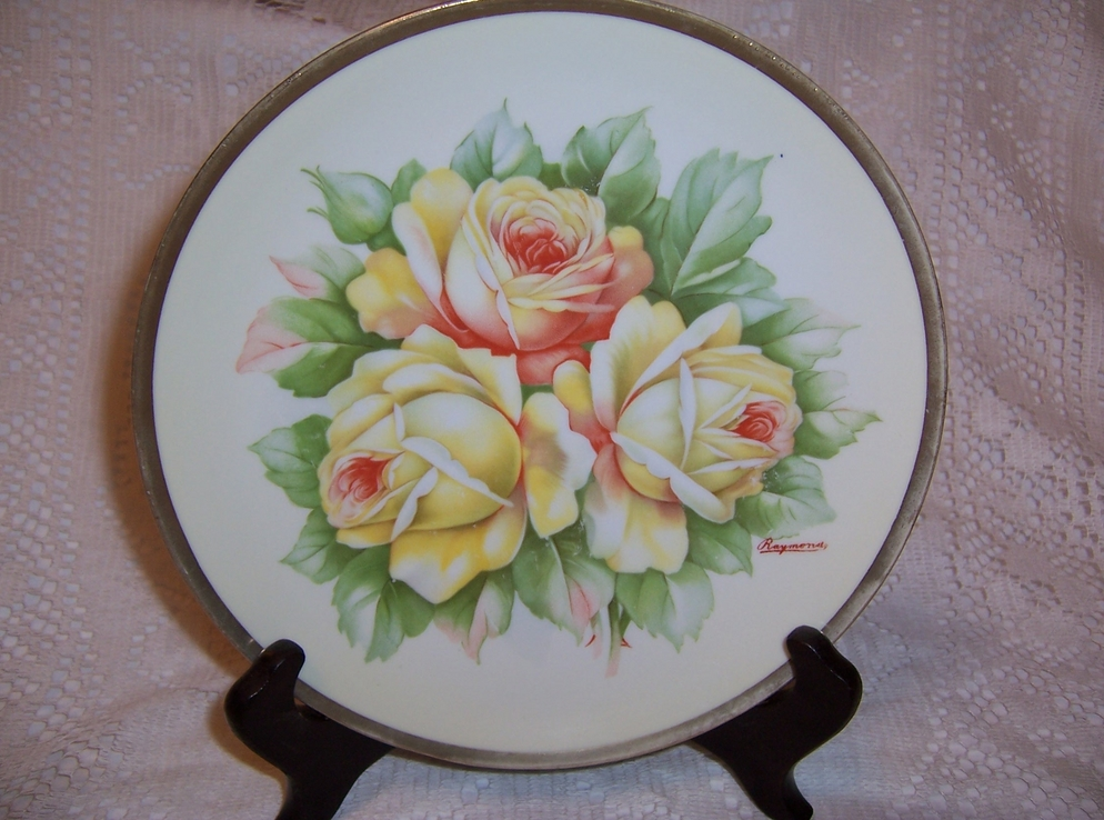 O & E G Royal Austria Hand Painted Plate with Yellow Roses