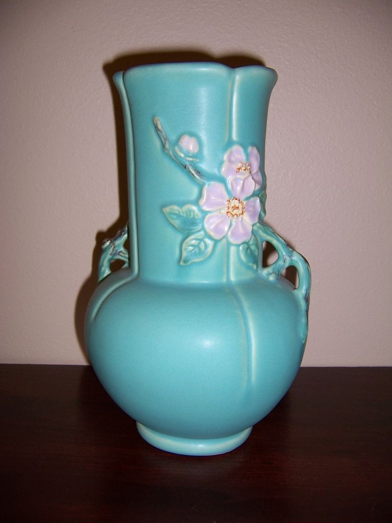 "Weller ""Wild Rose"" Double Handle Vase"