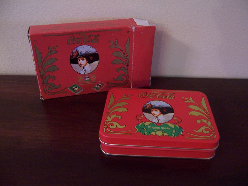 coca cola gibson girl holiday 2 deck playing card set matching tin john 39 s antiques ruby lane. Black Bedroom Furniture Sets. Home Design Ideas