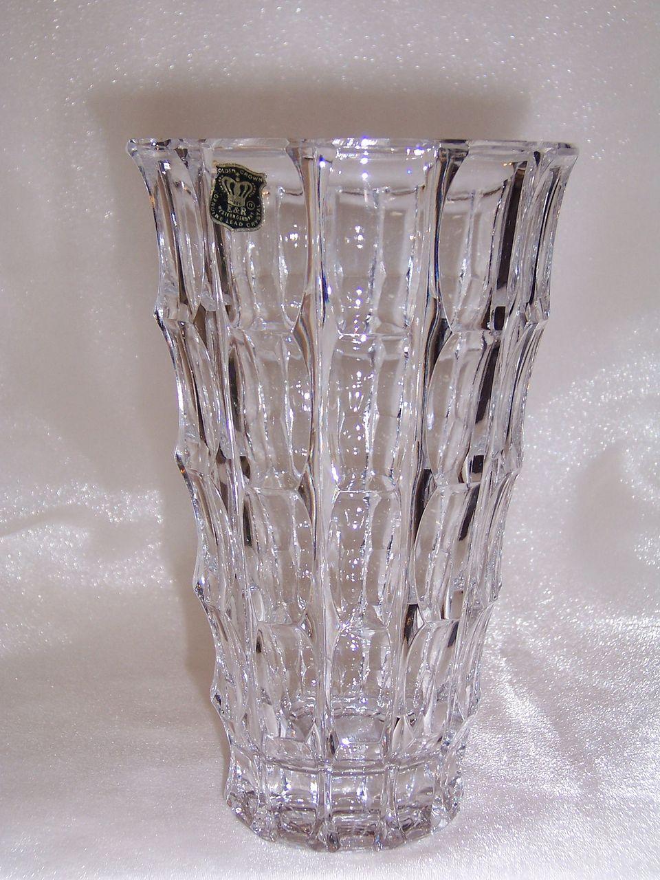 E r golden crown genuine lead crystal vase western germany e r golden crown genuine lead crystal vase western germany johns antiques ruby lane reviewsmspy
