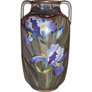 Nippon Bright Purple Iris Hand-Painted Double Handle Vase, 7 ½""