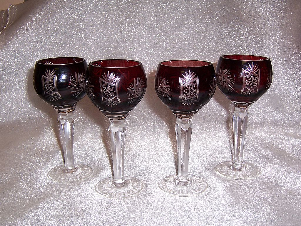 Ruby Cut to Clear Cordials, Set of 4