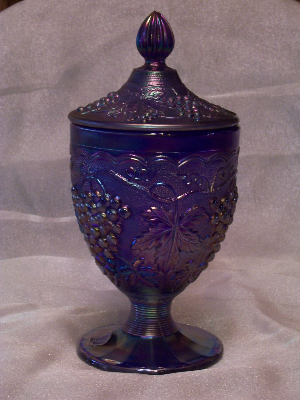Imperial Glass Carnival Glass Covered Compote, Heavy Grape Pattern