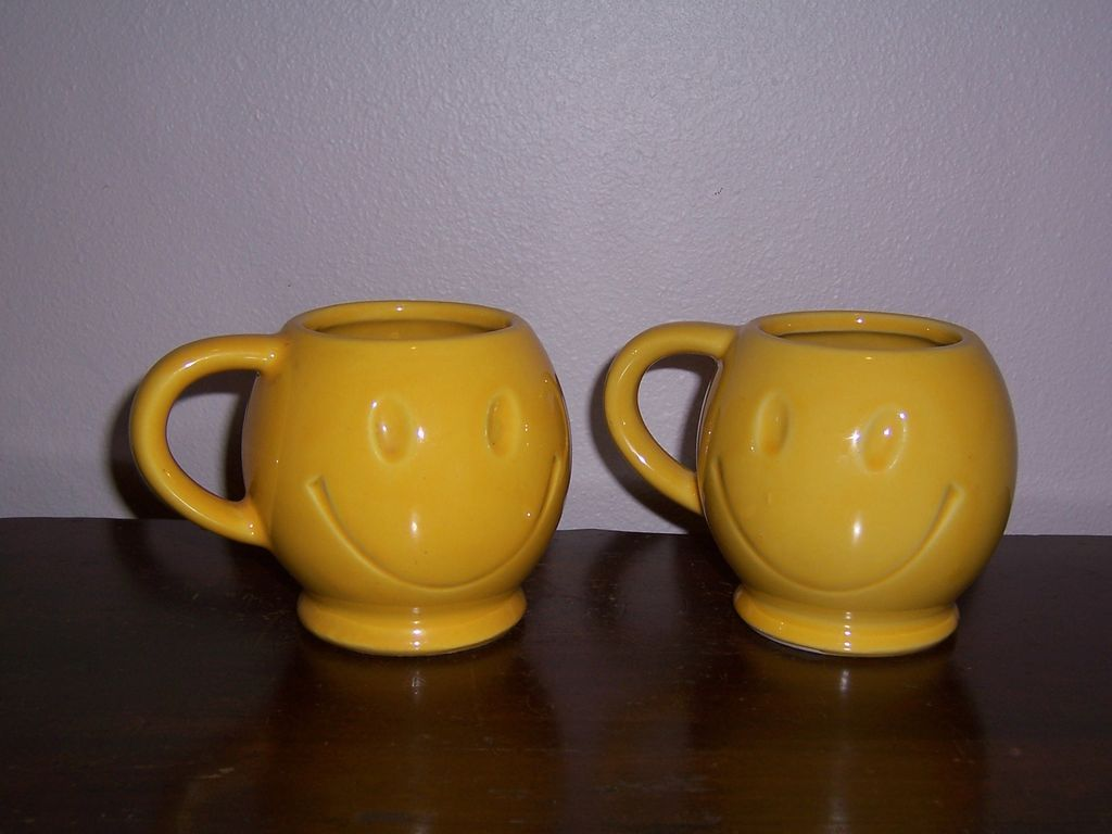 Vintage McCoy Cheery, Smiley Face Mugs