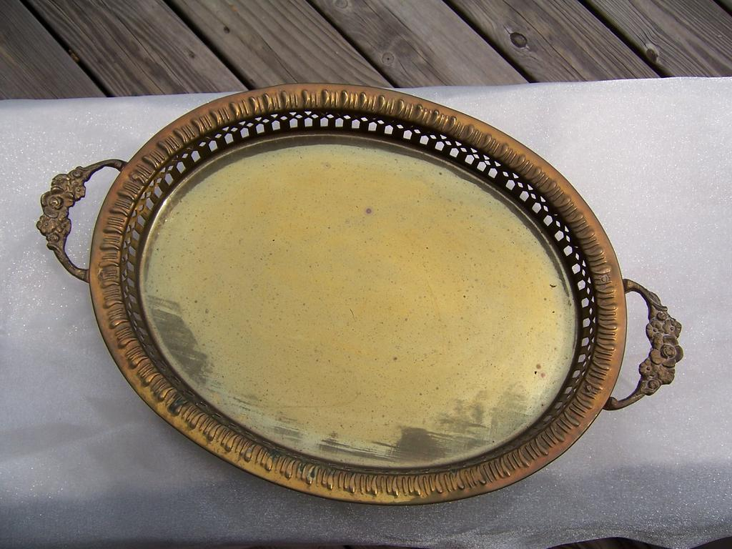 Reticulated Brass Tray with Handles