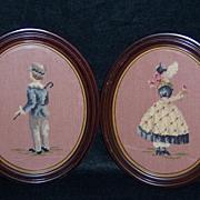 Victorian Style Boy & Girl Set Framed Needlepoint