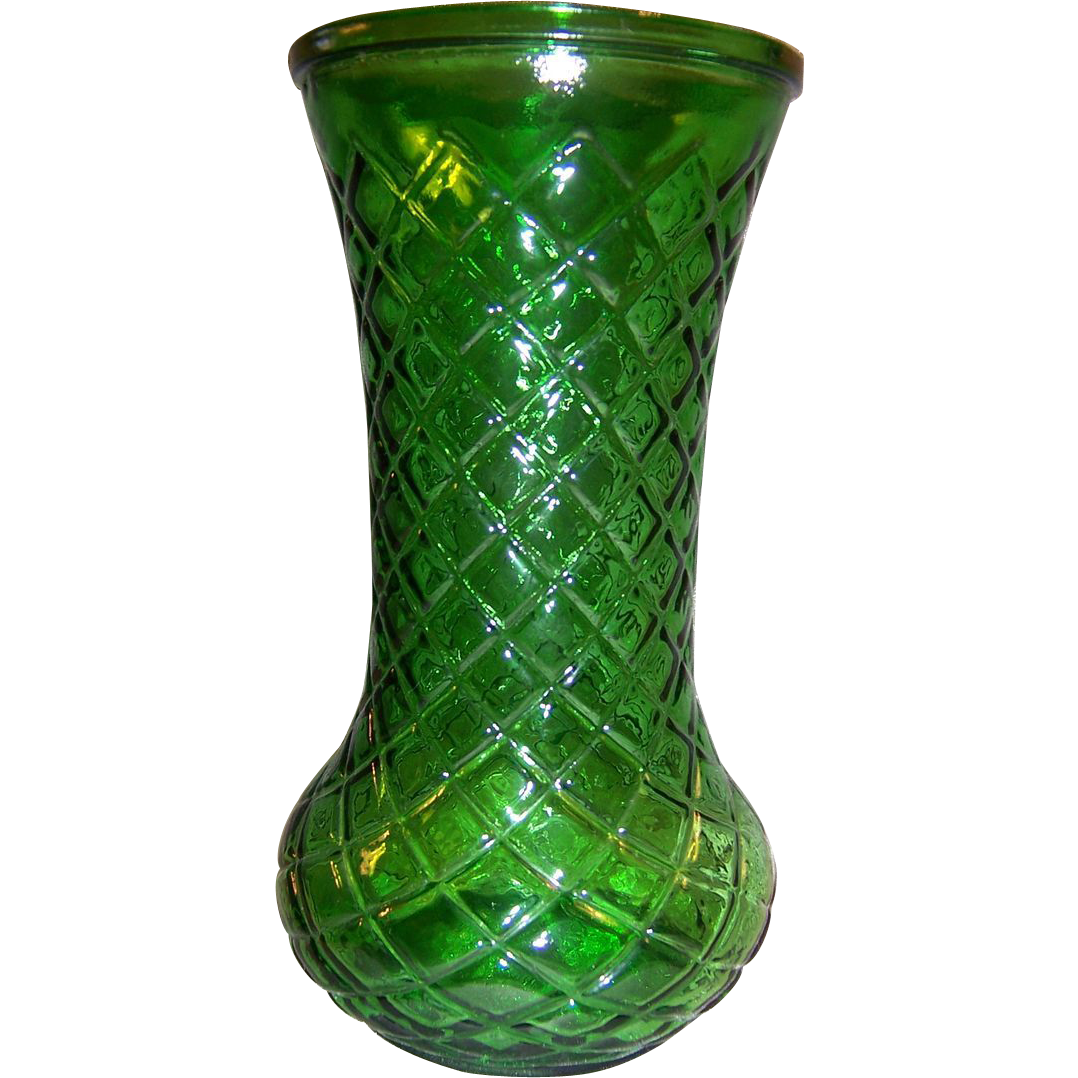Vintage Emerald Green Hoosier Glass Vase, Diamond Cut Pattern 8 ½""