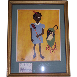 "William H Johnson Print ""Lil Sis"", c 1944, Matted & Framed"