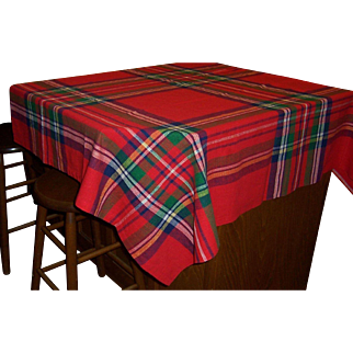 "Bright Red Plaid Rectangle Tablecloth, 43"" X 55"""