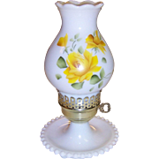 Vintage Hand Painted Yellow Roses Electric Hurricane Lamp